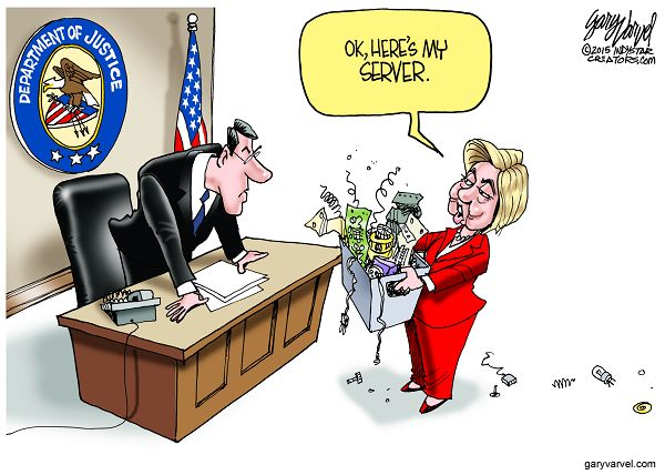 Cartoonist Gary Varvel: Hillary Clinton gives her server to Just